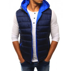 Tmavo modrá pánska vesta s vreckami a kapucňou