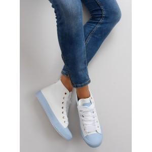 Modré dámske tenisky na platforme