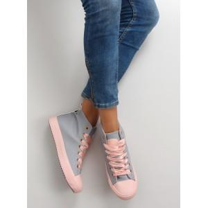 Kotníkové dámske tenisky v sivej farbe