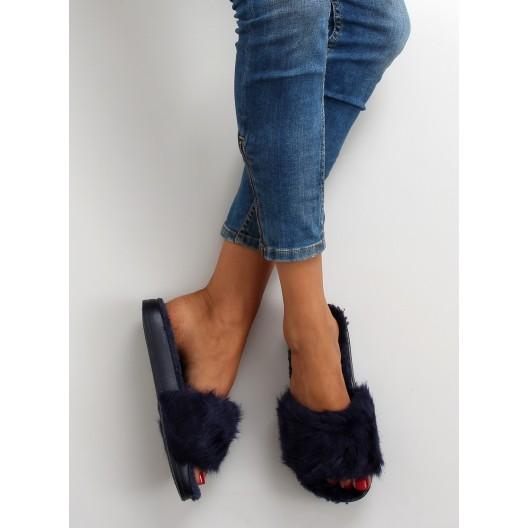 Chlpaté dámske šľapky v modrej farbe