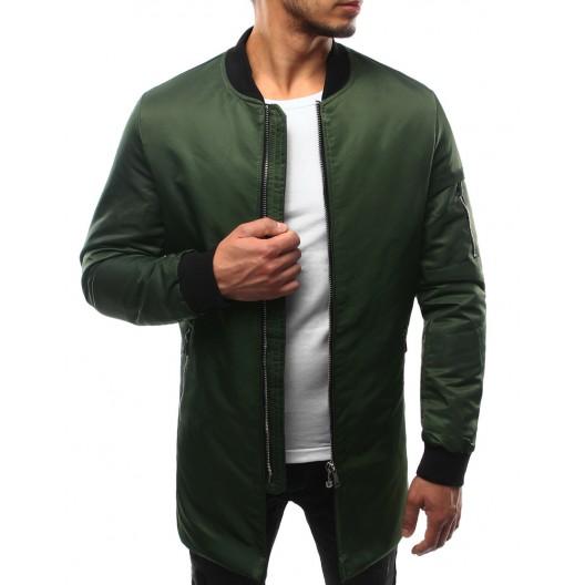 Pánska prechodná bomber bunda v zelenej farbe