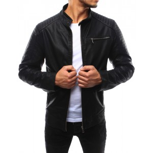 Elegantná pánska kožená bunda v čiernej farbe