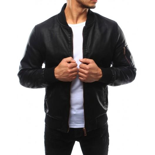 Čierna kožená bunda pre pánov