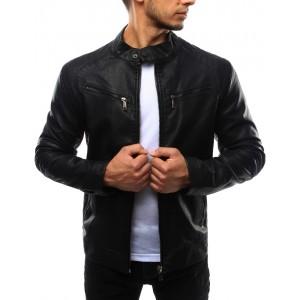 Pánska kožená bunda čiernej farby
