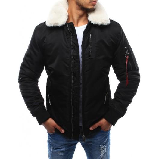 Čierna pánska prechodná bunda s kožušinou