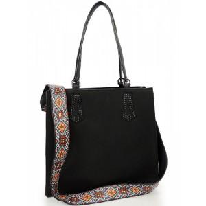 Čierna dámska shopper kabelka na rameno