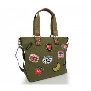 Zelená dámska shopper kabelka s nášivkami