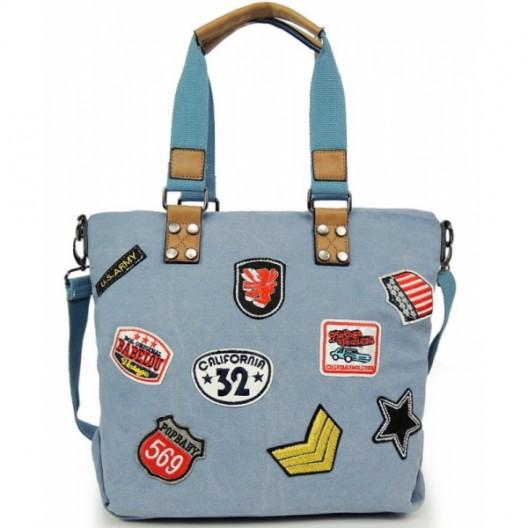 Dámska shopper kabelka v modrej farbe