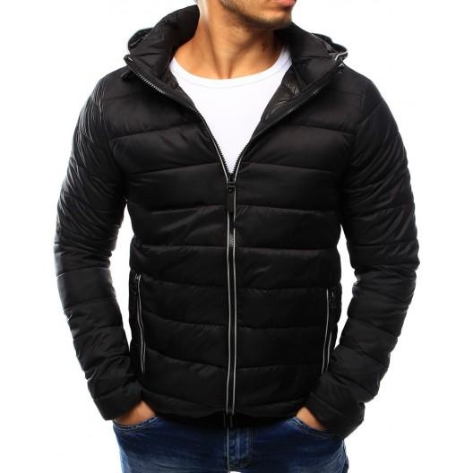 Štýlová pánska prechodná bunda čierne farby