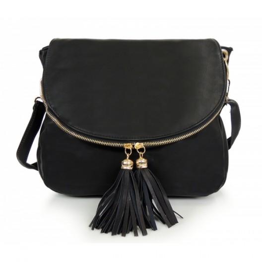 Večerná dámska listová kabelka čiernej farby