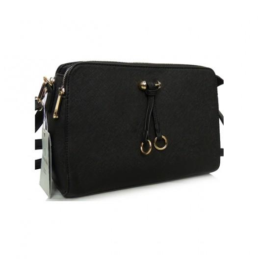 Listová kabelka do ruky v čiernej farbe