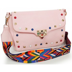 Ružová dámska listová kabelka s aztéckym remienkom