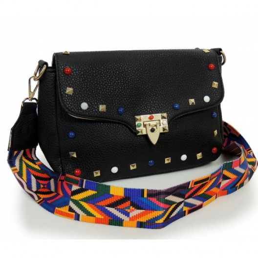 Čierna dámska listová kabelka s aztéckym remienkom