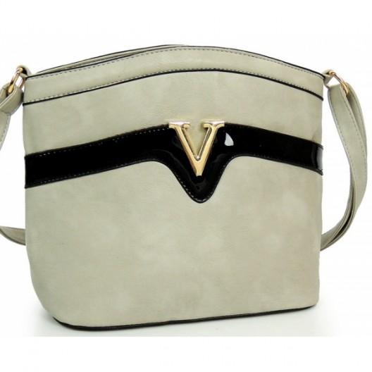 Sivá dámska elegantná listová kabelka
