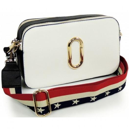 Biela listová kabelka s remienkom