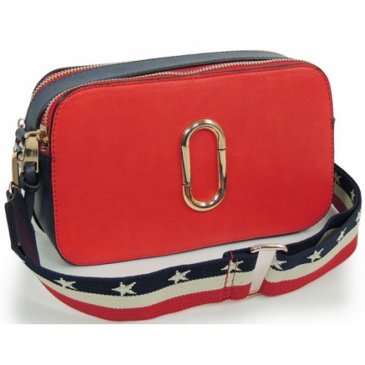 Červeno modrá listová kabelka s remienkom