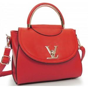 Červená elegantná listová kabelka s remienkom
