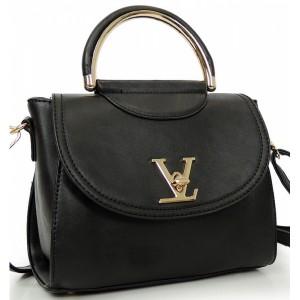 Čierna elegantná listová kabelka s remienkom