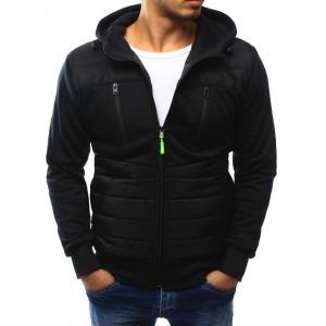Čierna pánska prešívaná bunda s kapucňou