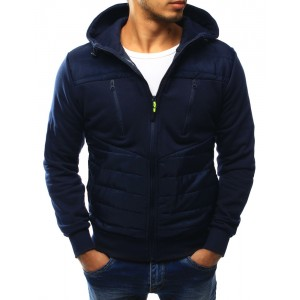 Tmavo modrá bunda s kapucňou