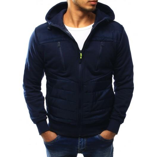 Jesenná bunda modrej farby s kapucňou