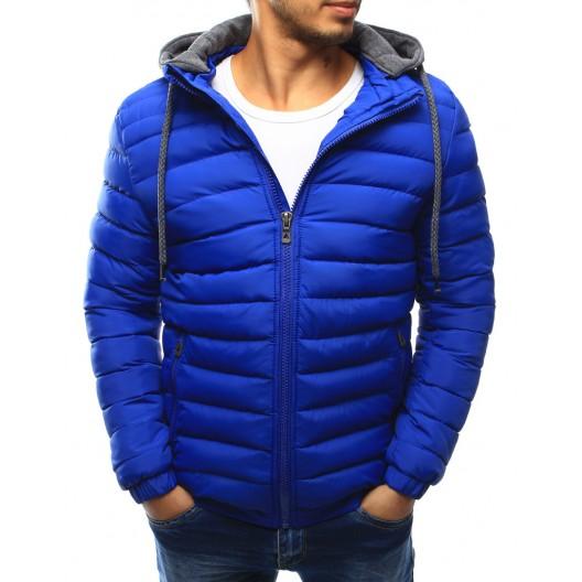Športová pánska prechodná bunda modrej farby