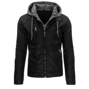 Čierna pánska kožená bunda s kapucňou
