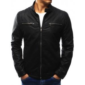 Kvalitná kožená bunda pre pánov čiernej farby