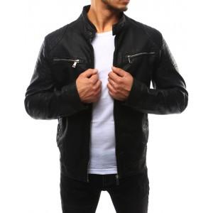 Moderné pánske kožené bundy čiernej farby