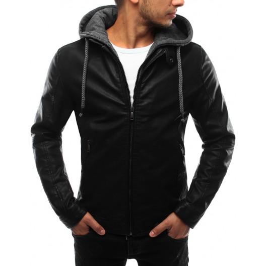 Kožená bunda čiernej farby s kapucňou