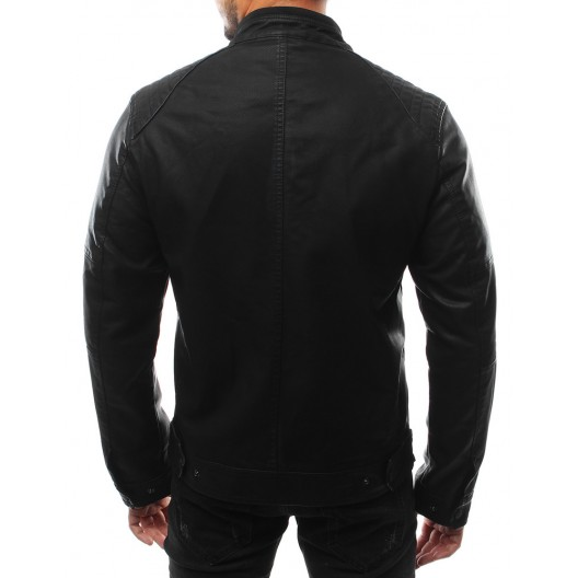 Čierne pánske moderné bundy na zips