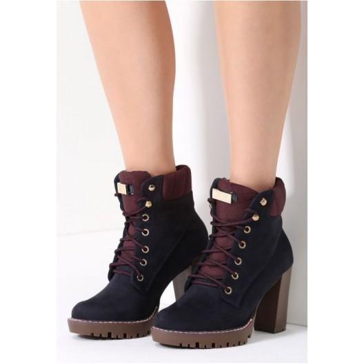 Tmavo modrá členková obuv na zimu