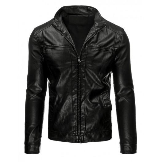 Čierna pánska koženková bunda bez kapucne