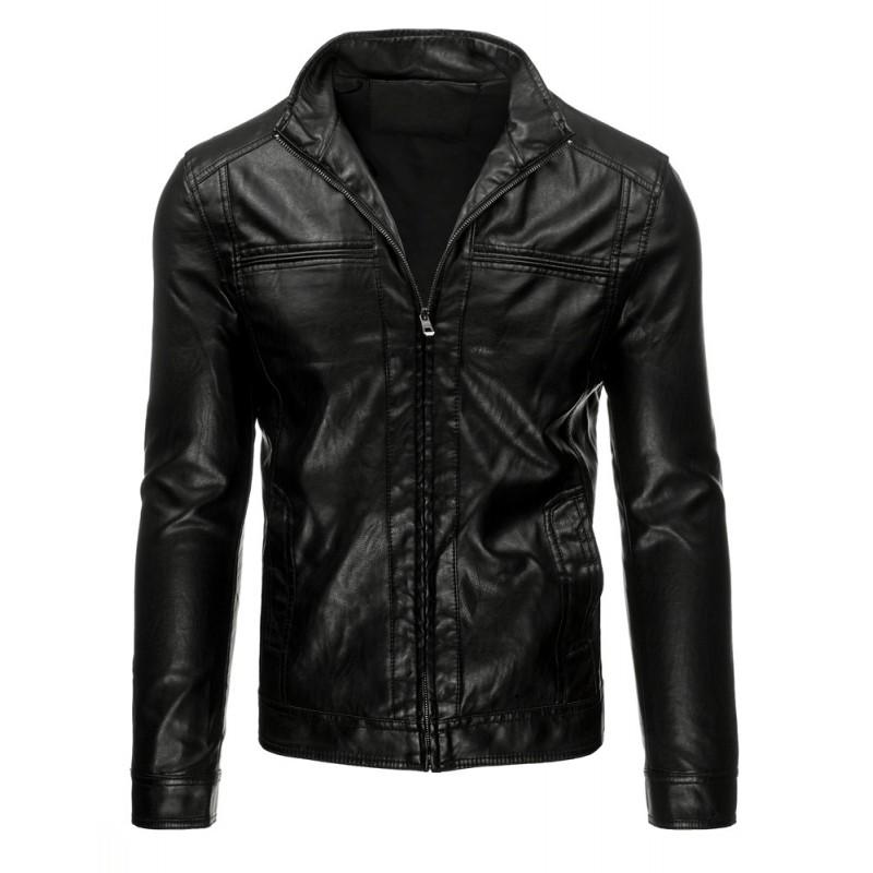 Čierna pánska koženková bunda bez kapucne - fashionday.eu b217bbf86c0