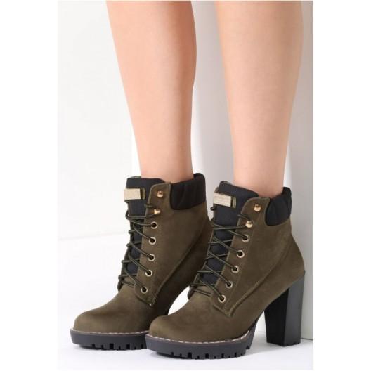 Dámske zimné šnurovacie topánky zelenej farby