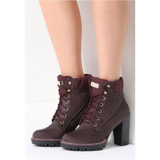 Tmavo hnedé dámske členkové topánky na zimu