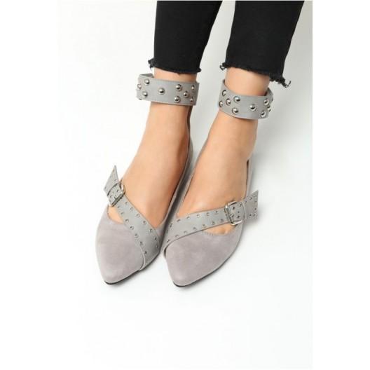 Sivé dámske balerínky s viazaním okolo nohy