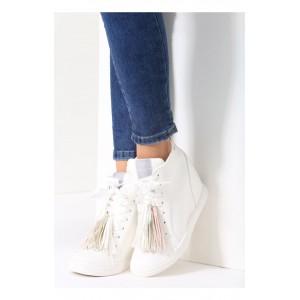 Biela dámska členková obuv so strapcami