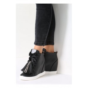 Členkové dámske prechodné topánky čiernej farbe