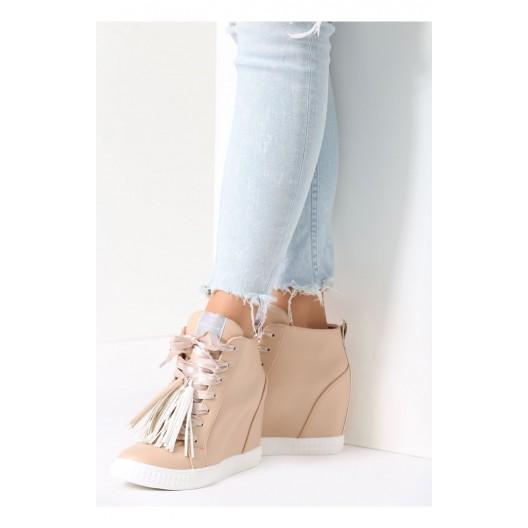 Béžové dámské topánky na platforme
