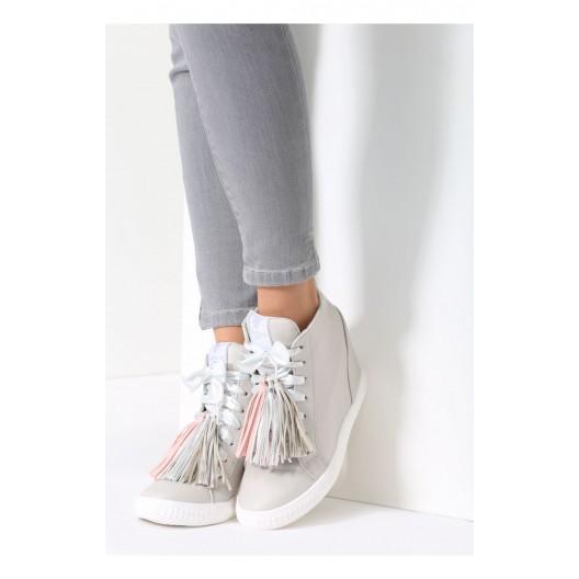 Jesenné kotníkové topánky v sivej farbe