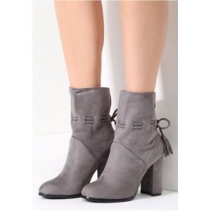 Elegantné sivé dámske topánky na hrubom opätku