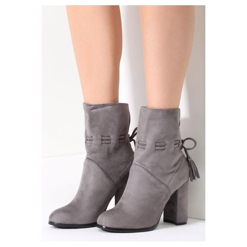 f5ee0c0589b27 Predchádzajúci. Elegantné sivé dámske topánky na hrubom opätku ...