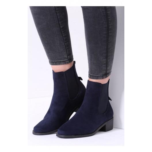 Tmavo modré dámske topánky na opätku