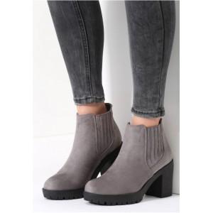 Dámske zimné topánky na hrubom podpätku sivej farby