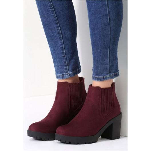 Bordové dámske zimné topánky na vysokom podpätku