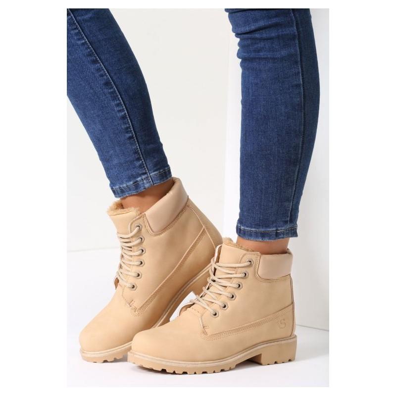 Béžové zateplené worker topánky pre dámy - fashionday.eu 581f9c56d42