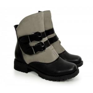 034fbdf10916 Teplá dámska členková obuv sivá s prackou na podpätku - fashionday.eu