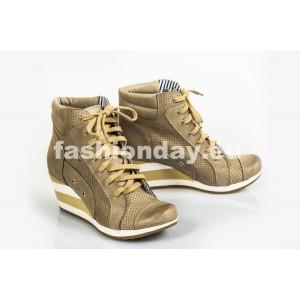 Dámske kožené topánky dierkované cappuccino DT216