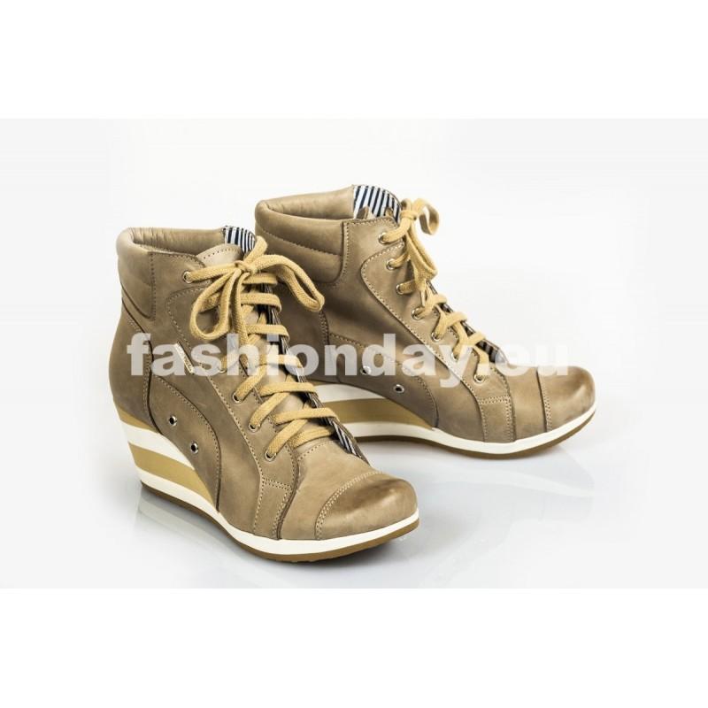 Dámske kožené topánky cappuccino DT217 - fashionday.eu 226a42ca545